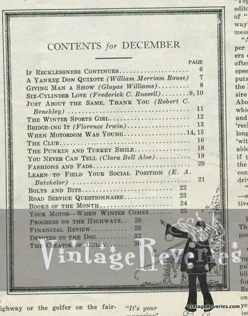 Table of contents Missouri Auto Club 1922