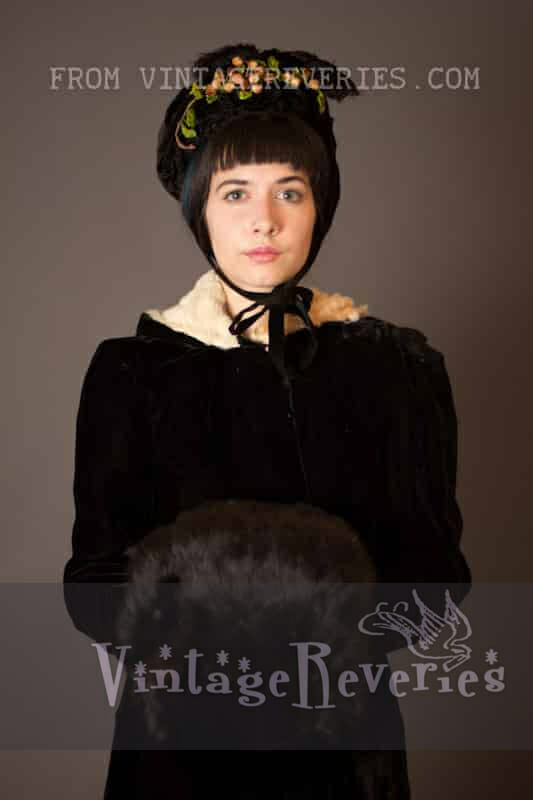 1800s winter bonnet, hand muff, and cloak