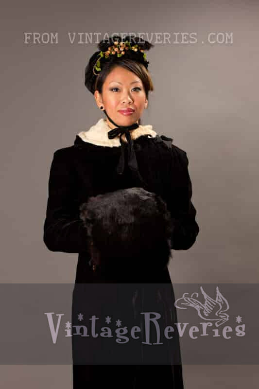 1800s velvet cloak, velvet bonnett, and rabbit fur hand muff