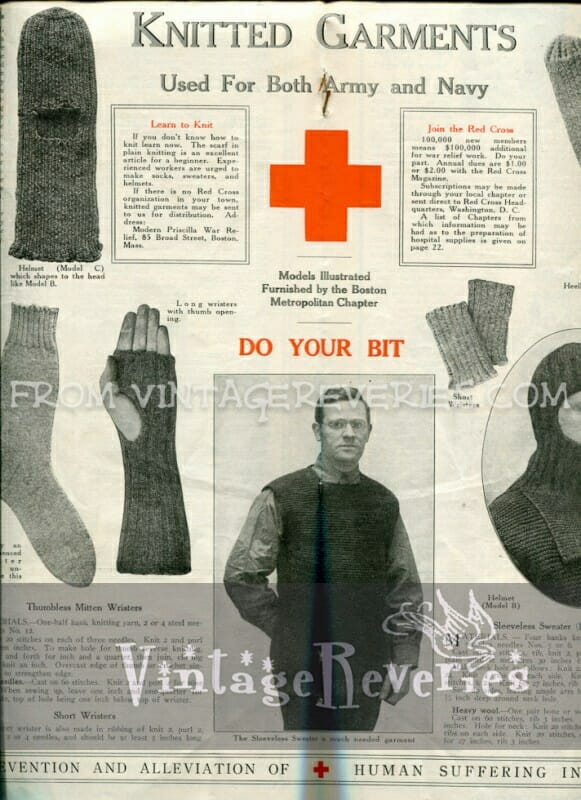 Knitted Garments Used For Both Army And Navy World War I American