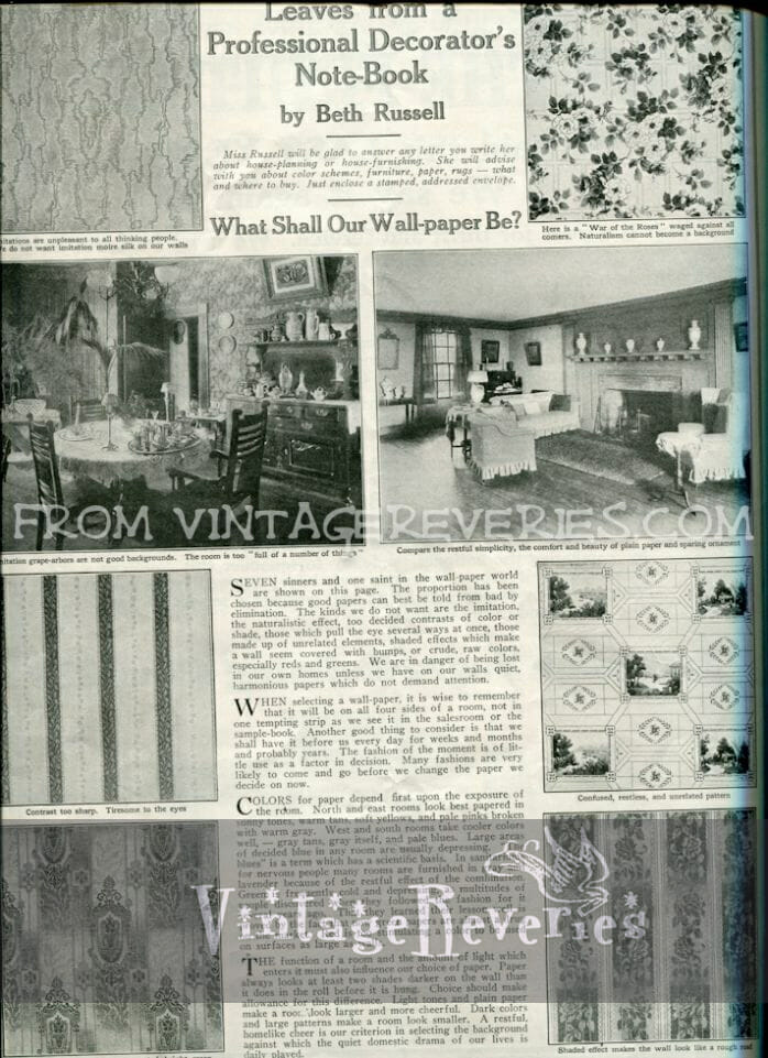 1917 wall paper patterns