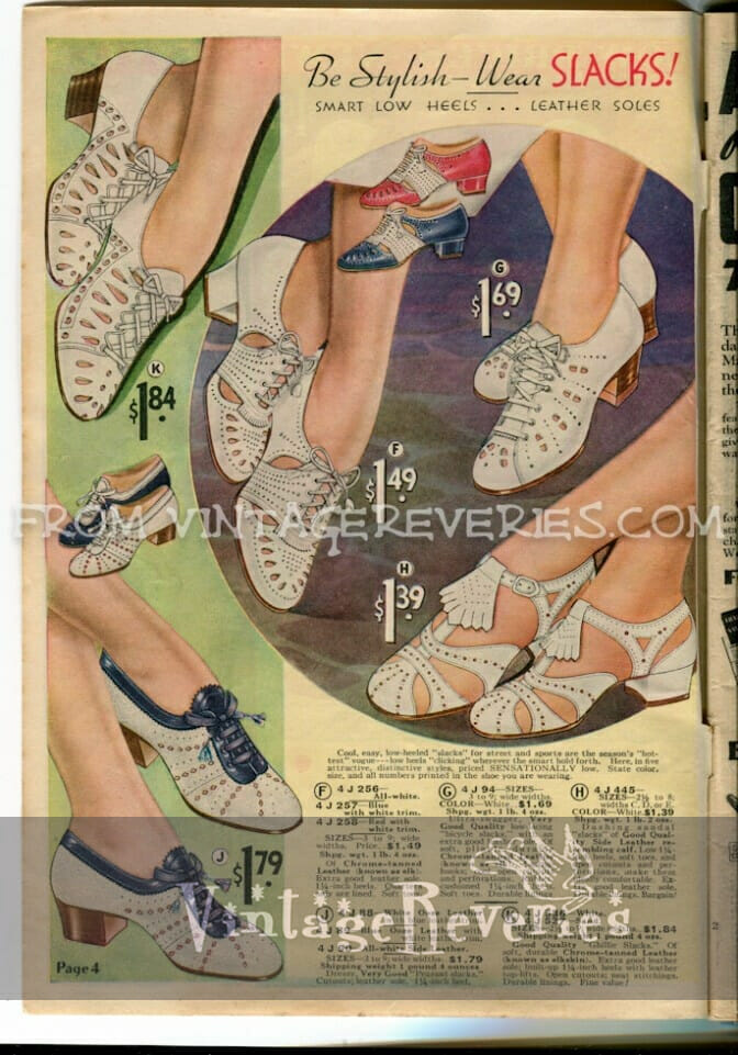 1930s summer shoe fashions