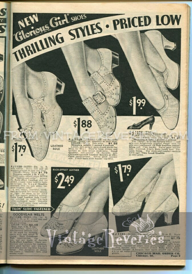 1930s ladies shoe fashions