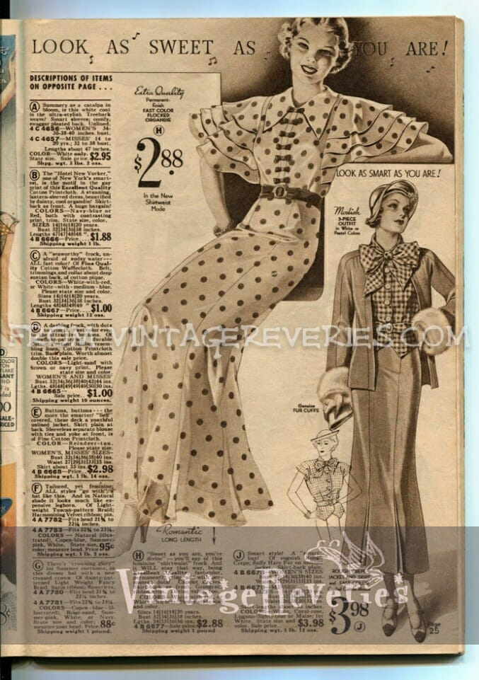 1930s polka dot dress advertisement