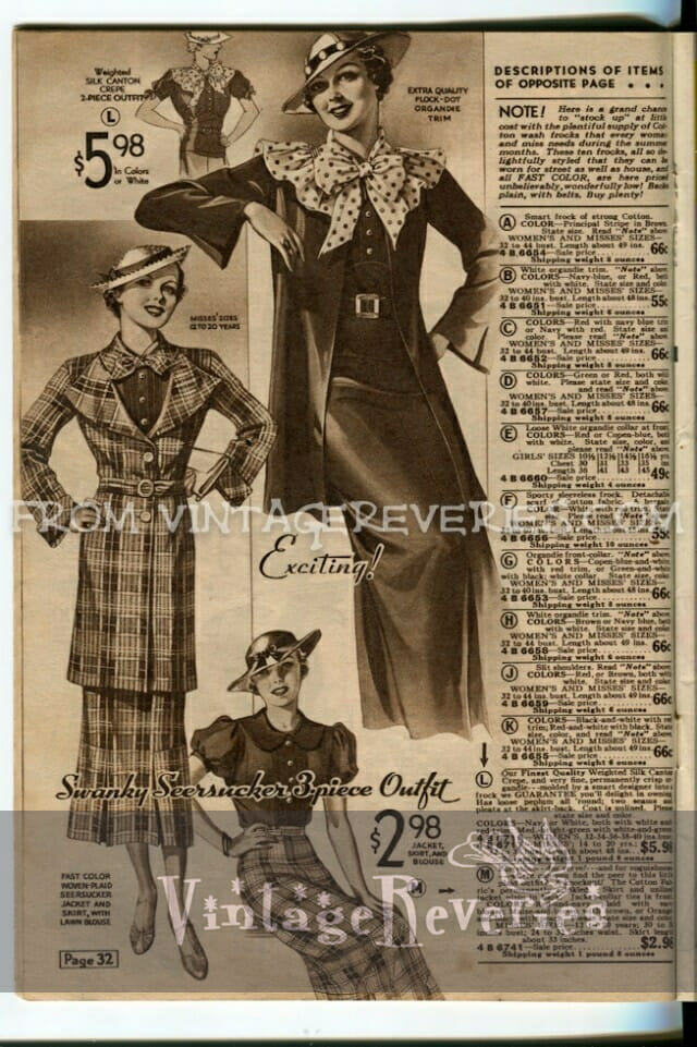 1930s dress fashions advertisement