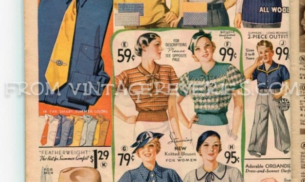 1930s shirts and hats for men, blouses for women, and outfits for boys and girls