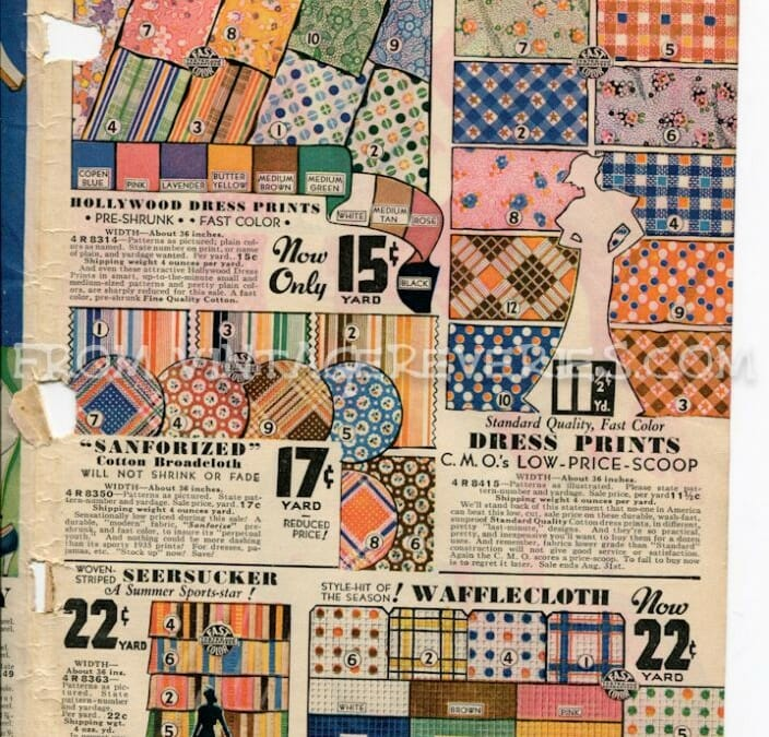 1930s Sewing notions, fabrics, laces, silks, and the last page of the Chicago Mail Order Company 1935 Catalog (summer)