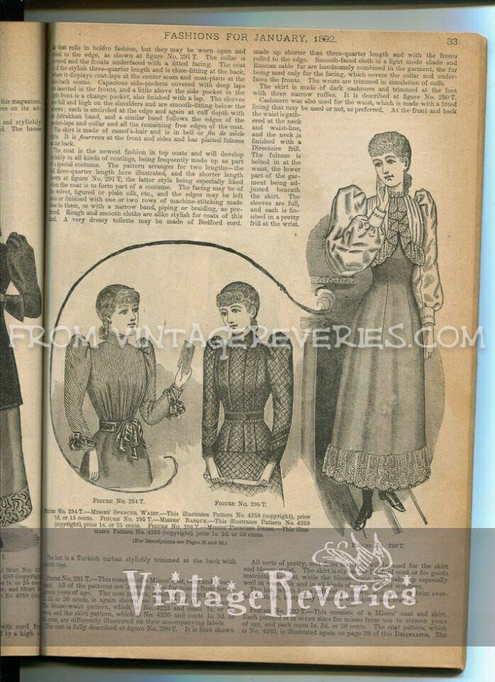 winter dress fashions for girls in the 1890s