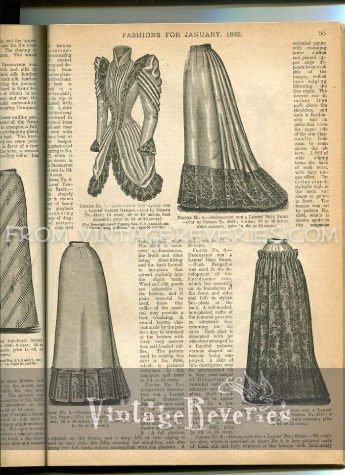 1890s walking skirt and pannier basque illustration