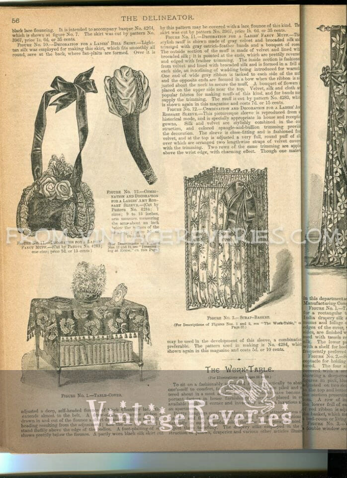 1890s table cloth and muff fashion
