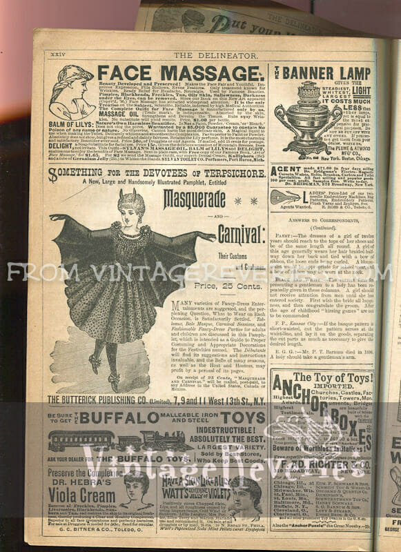 victorian halloween and carnival costume ads