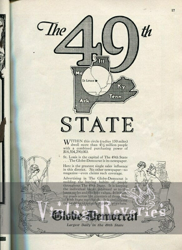 St. Louis Globe Democrat advertisement 1920s