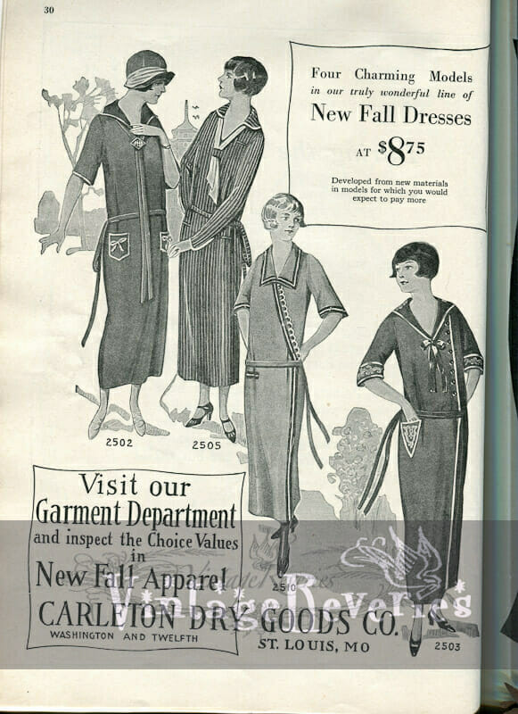 1920s drop waist dress fashions