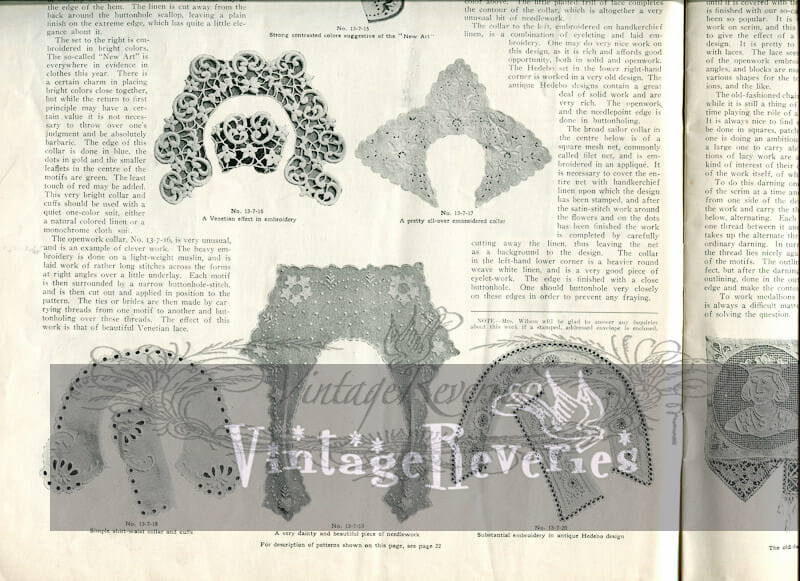 early 1900s collar patterns