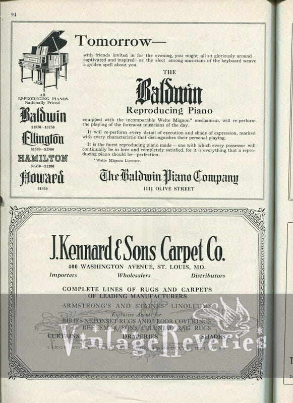1920s reproduction piano advertisement Baldwin piano company