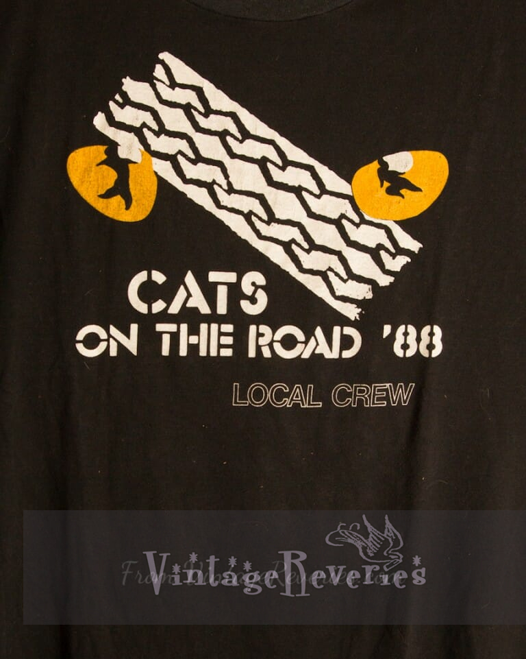 Extremely Rare Cats Musical 1988 tour stagehand/local crew tshirt