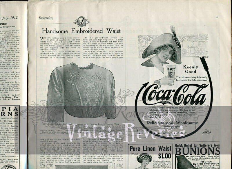 Embroidered Edwardian Shirtwaist, guest towels, and doily patterns
