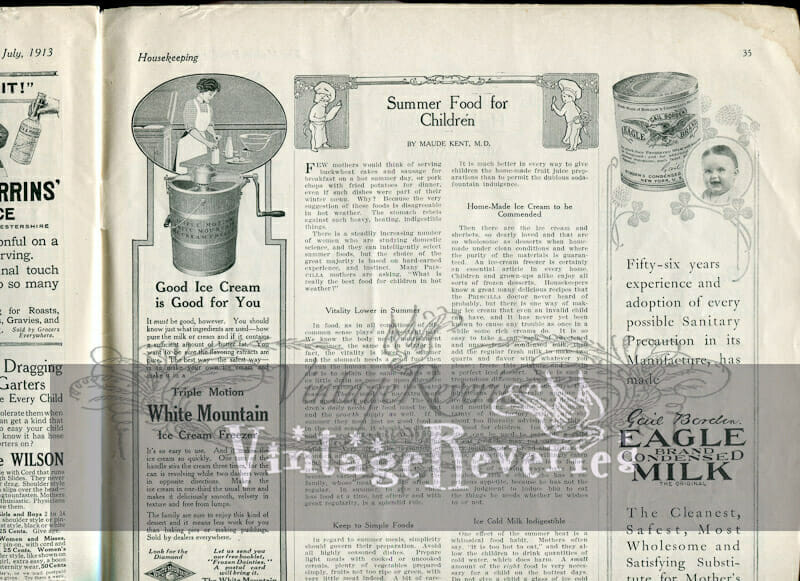 ice cream maker advertisement 1913