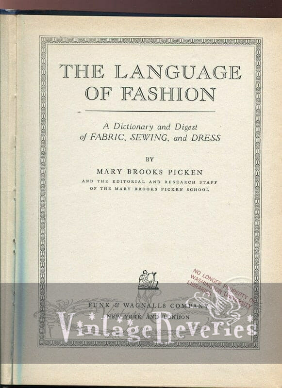 The language of Fashion by Mary Brooks Picken