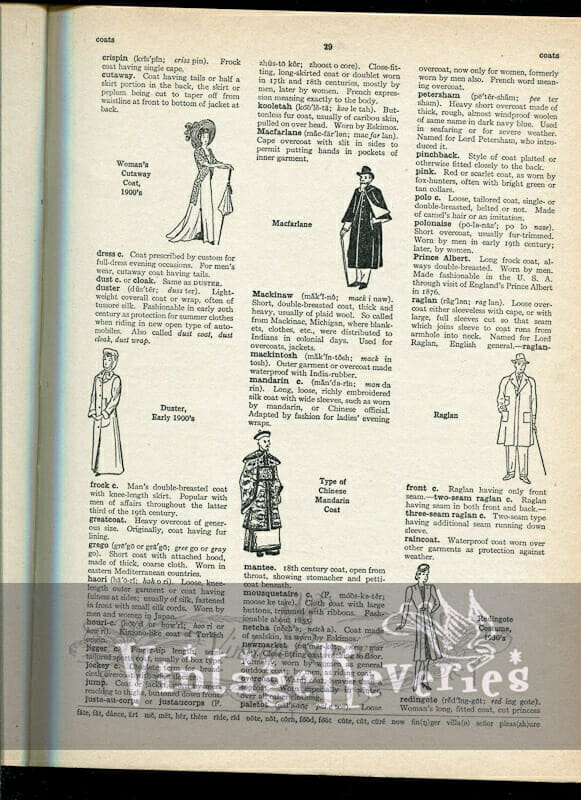 Different types of Coats illustrated – from The Language of Fashion