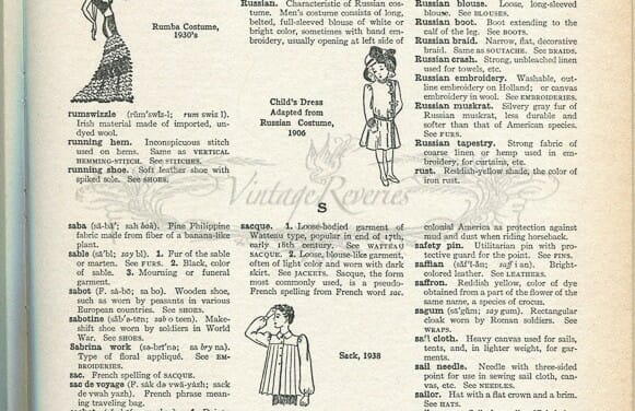 3 more scans from the Language of Fashion, a 1930s fashion dictionary