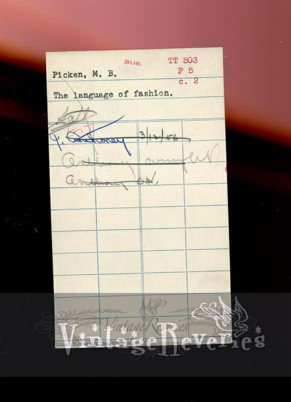 1950s library checkout card