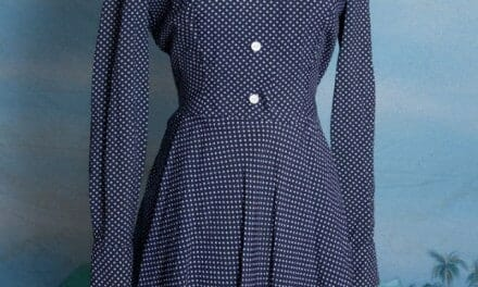 "Classic 1950s polkadot full skirt ""new look"" dress. Small-Medium, totally pinup style"