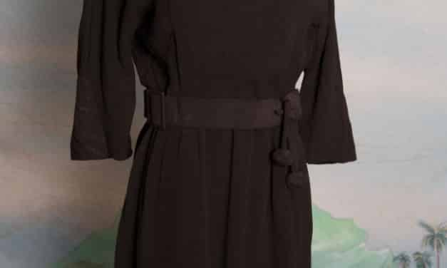 1960s Parnes Feinstein Black Dress with attached belt – small – medium