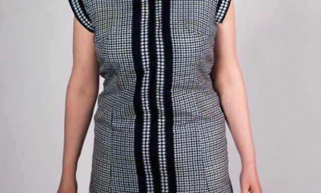 Classic blue houndstooth zip up dress – curvy and classy, wear to work or to dinner