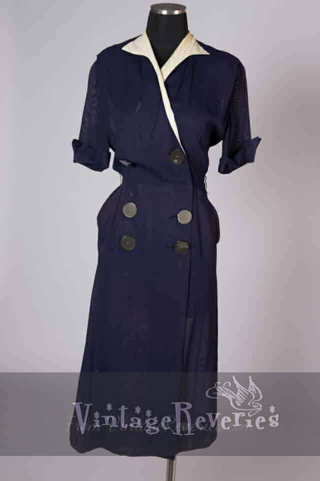 1940s mesh faux double breasted vintage navy blue dress – small-medium