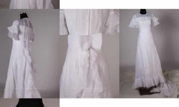 Dramatic 1970s wedding dress with train. Turn of the century silhouette – could probably be reconstructed for steampunk