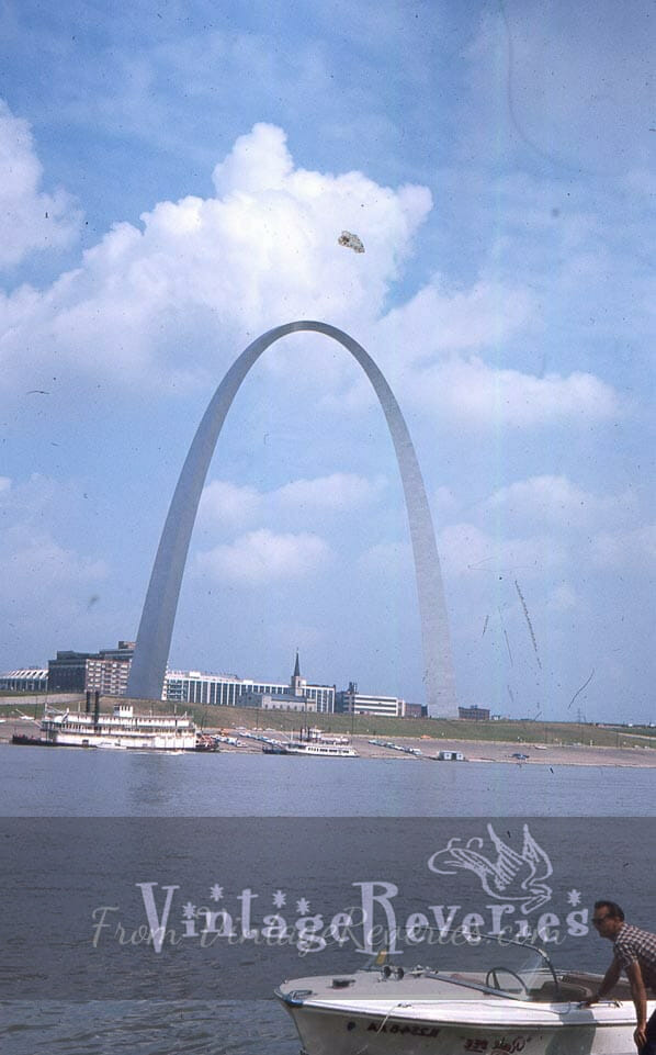 St. Louis riverfront with the Gateway Arch 1965