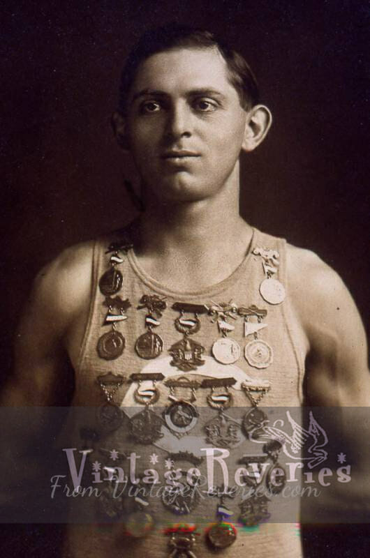 1911 rower with medals