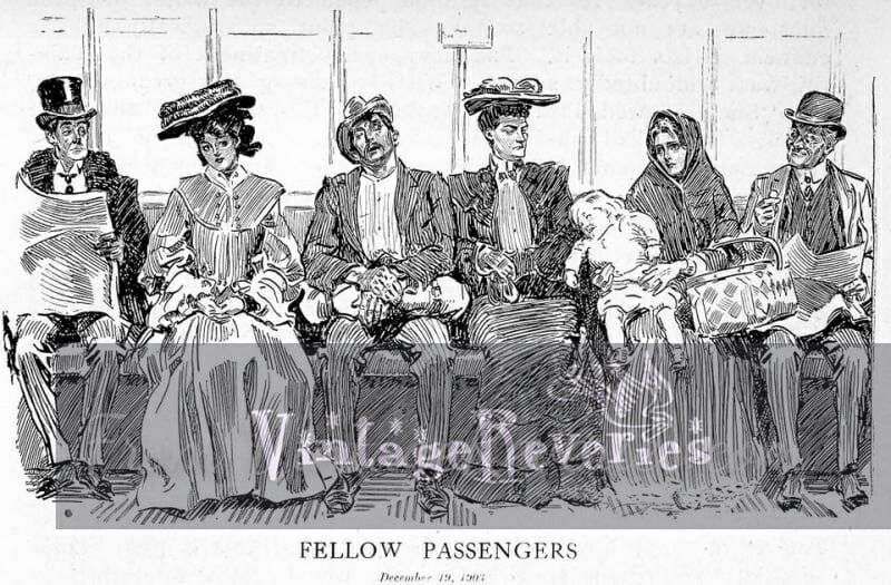 train passengers cartoon by gibson