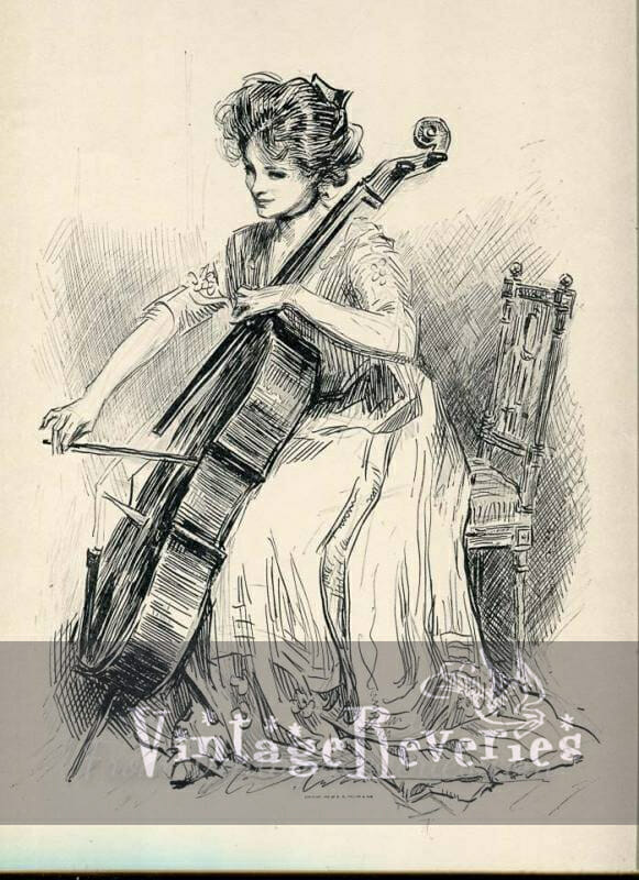 gibson girl playing a cello