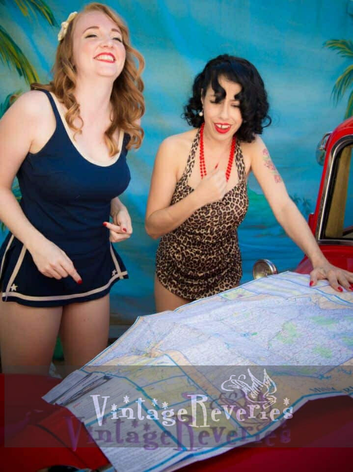 models looking at a map