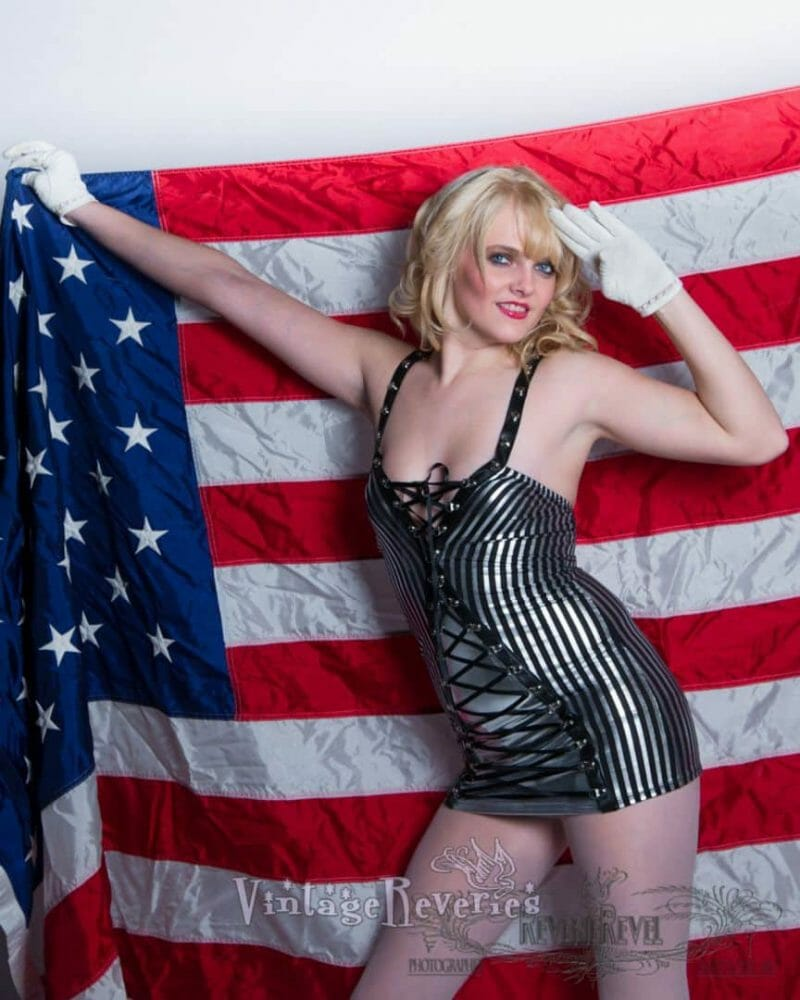 american flag pinup model
