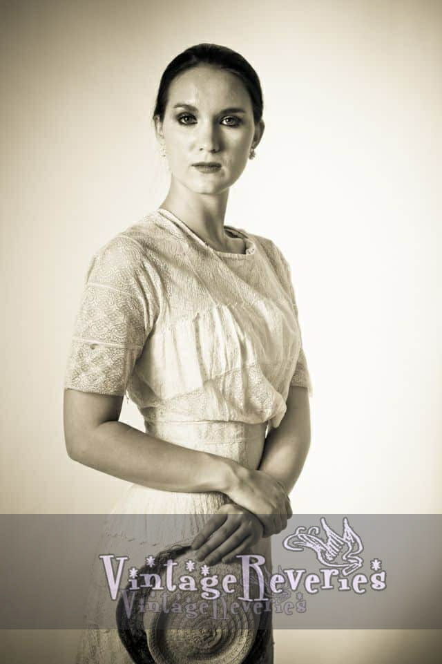 White Edwardian Lace Dress on Andrea