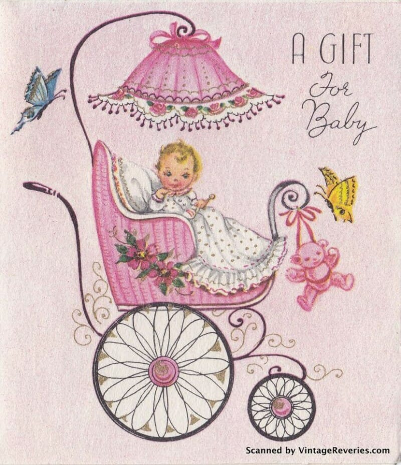 It's a girl 1960s baby shower card