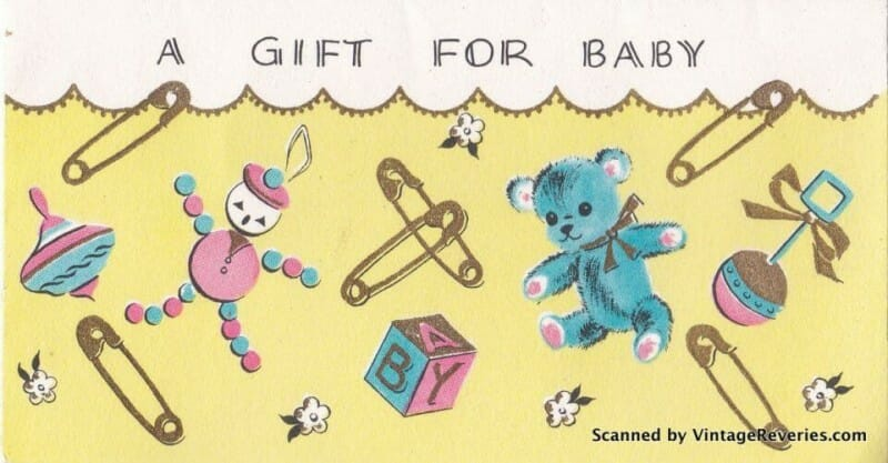 Gift for Baby early 1960s card
