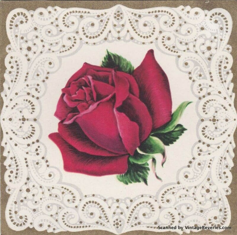 1960s greeting card for a new baby with a rose on it