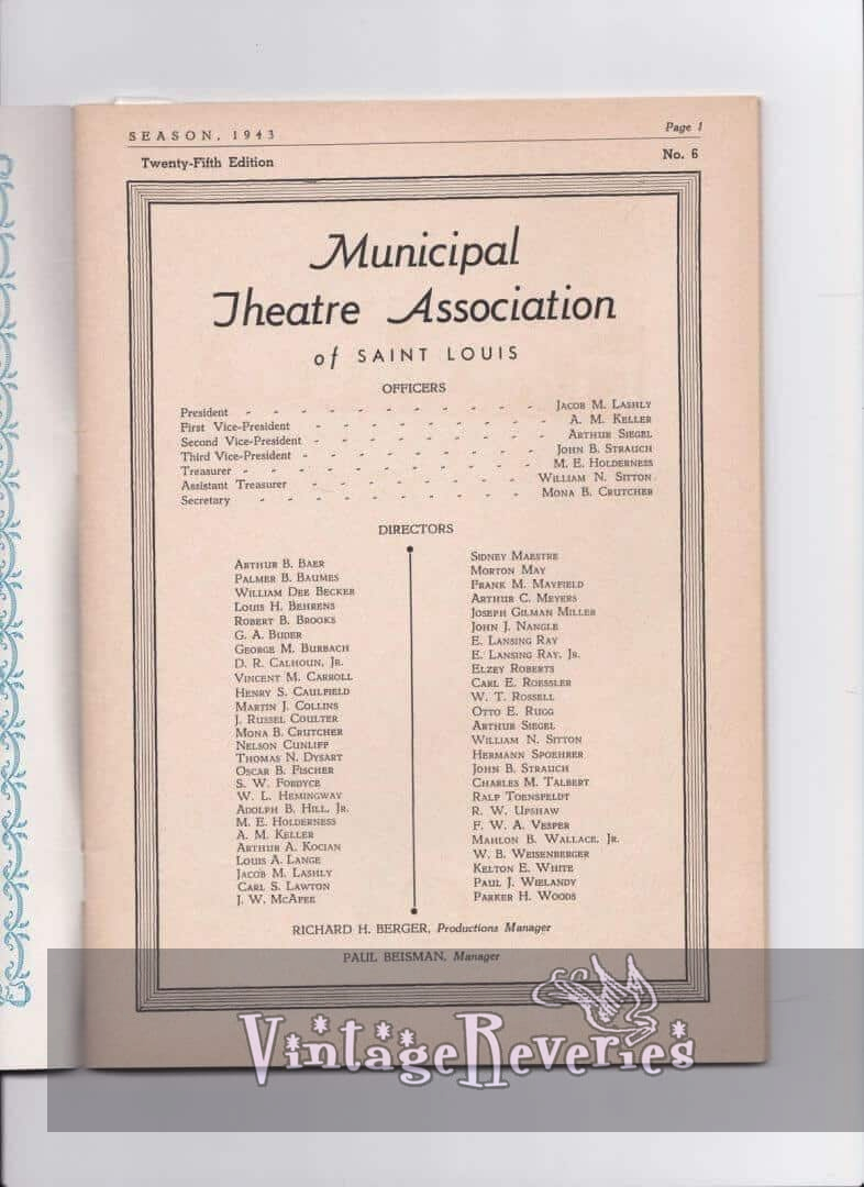 1943 Municipal Theater Association of St. Louis