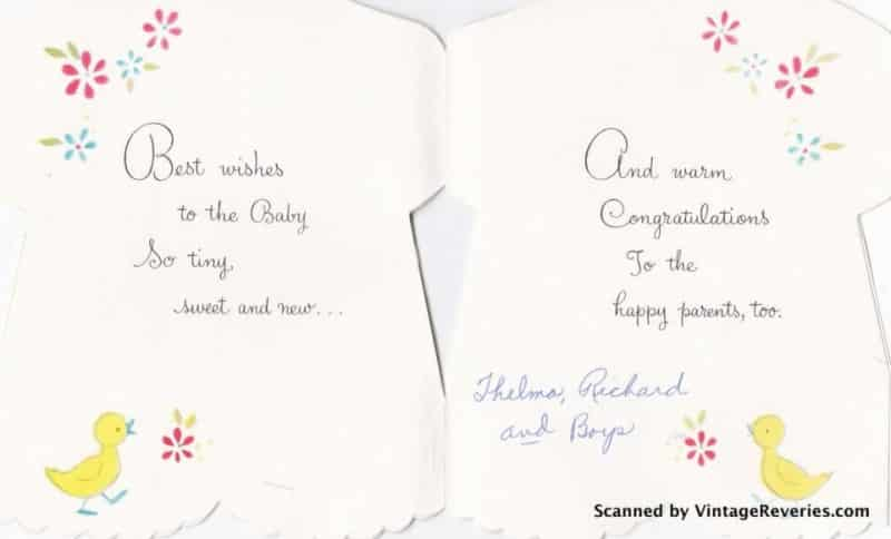 New baby card - inside greeting
