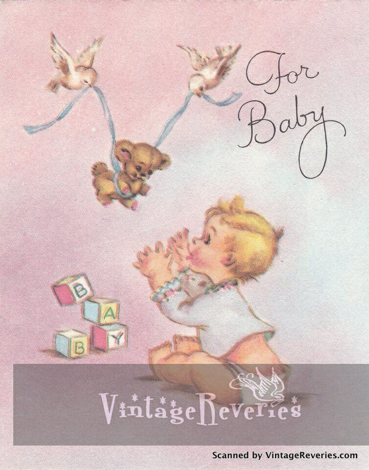 For Baby - pink 1960s baby shower card scan