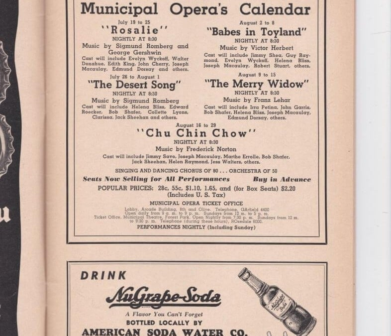 1940s theater program advertisements