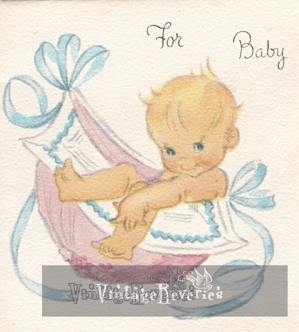 For the Baby - a 1960s Baby Shower card