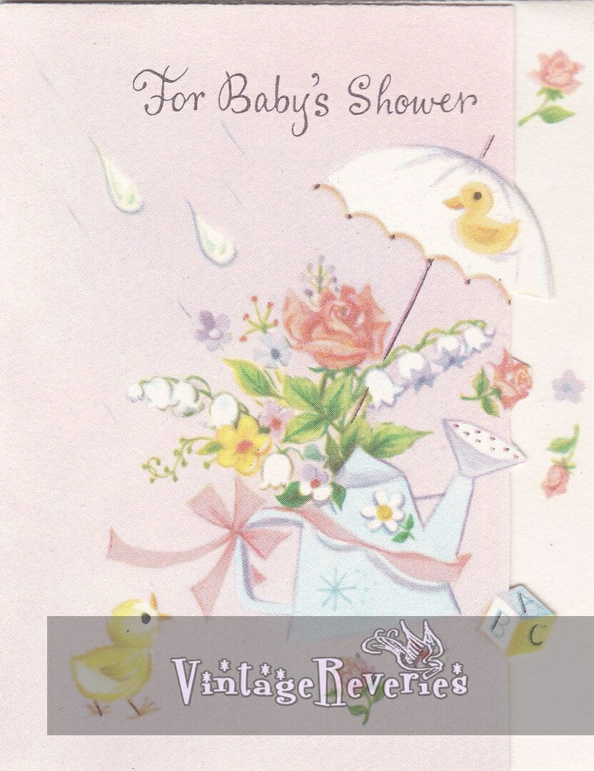 baby shower card with an umbrella and flowers