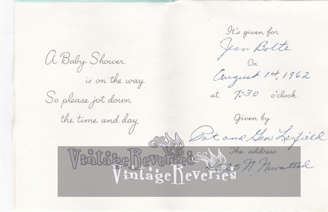 Baby Shower Invitation Scan from the early 1960s