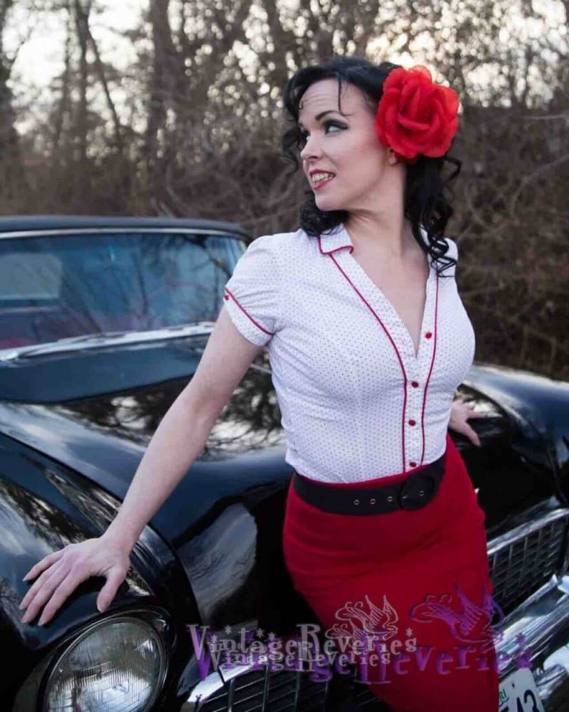 red skirt on a pinup model