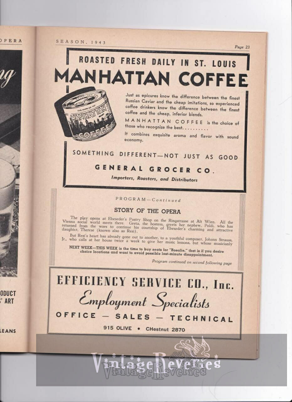 1940s Manhattan coffee advertisement